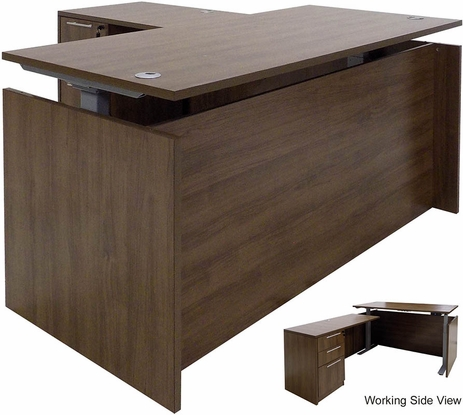 Modern Walnut Adjustable Height Manager's L-Shaped Desk