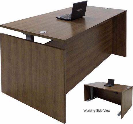 Modern Walnut Adjustable Height Rectangular Front Desk