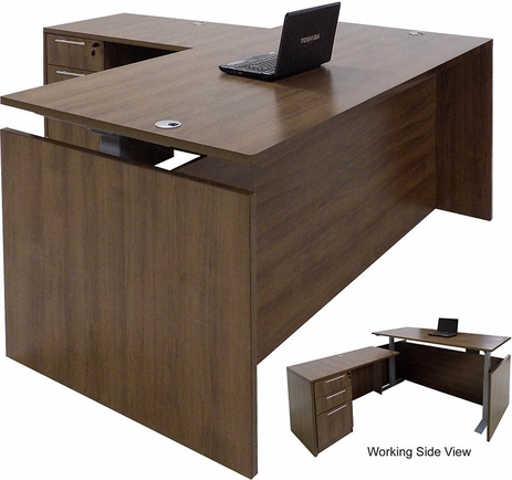 Modern Walnut Adjustable Height Rectangular Front L-Shaped Desk