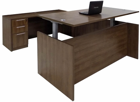 Modern Walnut Adjustable Height Rectangular Front U-Shaped Desk