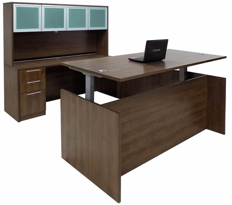 Modern Walnut Adjustable Height Rectangular Front U-Shaped Desk w/Hutch