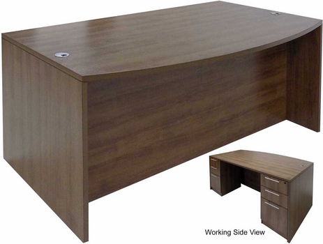 Modern Walnut Bow Front Conference Desk w/6 Drawers
