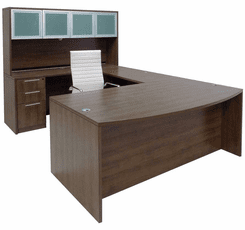 Modern Walnut Conference U-Shaped Workstation w/Hutch