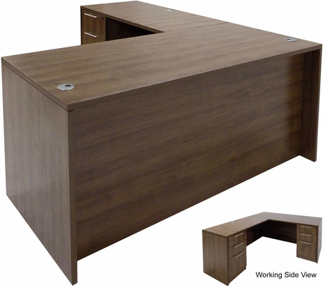 Modern Walnut L-Shaped Rectangular Managers Desk w/6 Drawers