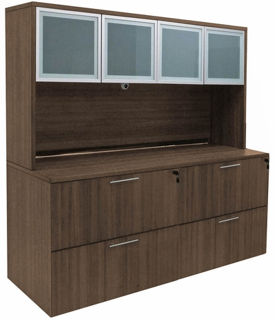 Modern Walnut Lateral File Credenza w/Hutch
