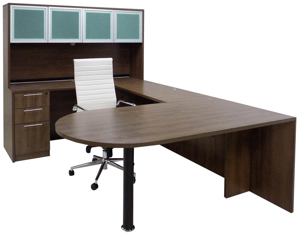 Modern Walnut Peninsula U-Desk w/Hutch