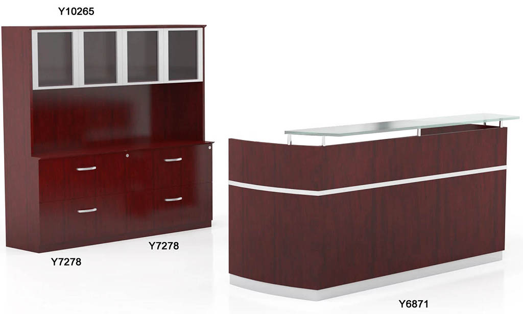 napoli reception desk with floating glass transaction counter 205