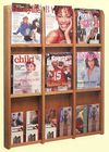 Oak & Acrylic Wall Racks -- 9 Magazine/18 Brochure Pocket Rack