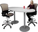Oval Standing Height 8' Metal Disc Base Conference Table