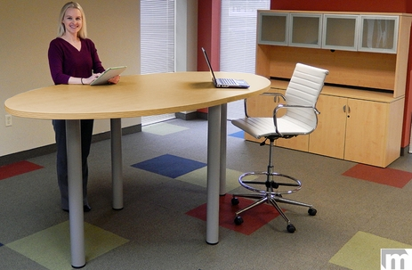 Oval Standing Height Conference Tables in 5 Colors - 8' Length- See Other Sizes