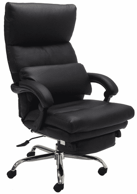 Pillow Top Leather Office Recliner w/Footrest