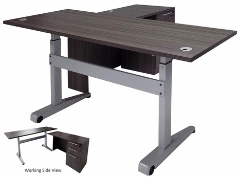 Pneumatic Lift Height Adjustable Executive L-Desk in Charcoal