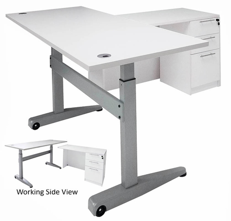 Pneumatic Lift Height Adjustable Executive L-Desk in White