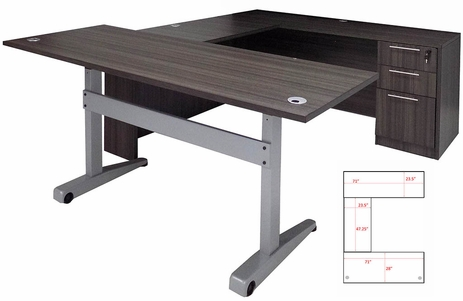Pneumatic Lift Height Adjustable Executive U-Desk in Charcoal