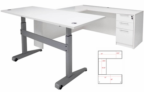 Pneumatic Lift Height Adjustable Executive U-Desk in White