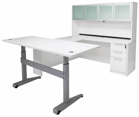 Pneumatic Lift Height Adjustable Executive U-Desk w/Hutch in White