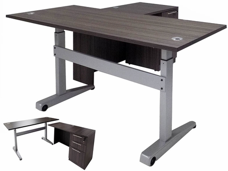 Pneumatic Lift Height Adjustable Managers L-Desk in Charcoal