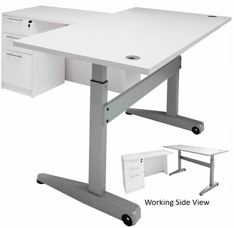 Pneumatic Lift Height Adjustable Managers L-Desk in White