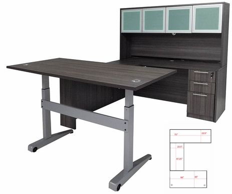 Pneumatic Lift Height Adjustable Managers U-Desk w/Hutch in Charcoal