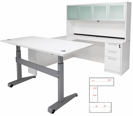 Pneumatic Lift Height Adjustable Managers U-Desk w/Hutch in White