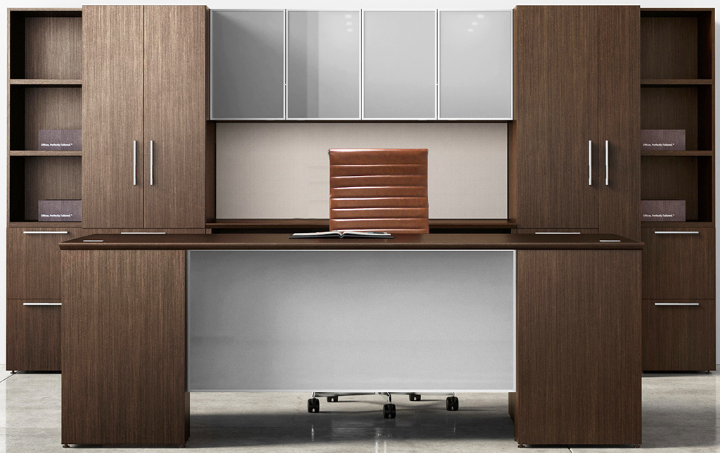 Prestige II Custom Glass Front Executive Series - Desk & Wall Unit Package