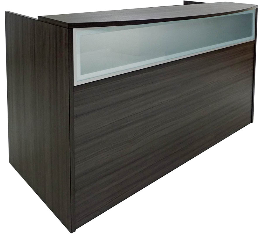 Rectangular Charcoal Woodgrain Reception Desk w/Frosted Glass Panel