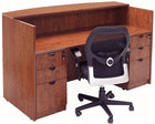 Rectangular Cherry Laminate Reception Desk with Drawers