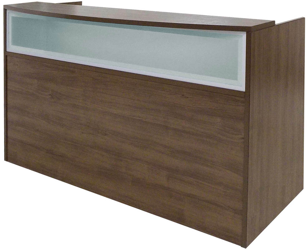 Rectangular Modern Walnut Reception Desk w/Frosted Glass Panel