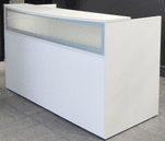 Rectangular White Reception Desk w/Frosted Glass Panel