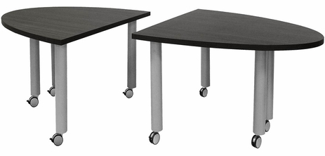 Set of 2 Half Oval Mobile Modular Conference Tables