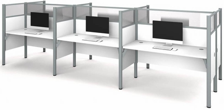 Six Face-to-Face Workstations w/Acrylic Glass