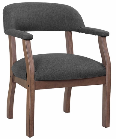 Slate Grey Linen Guest Chair with Wood Frame