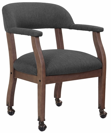 Slate Grey Linen Guest Chair with Wood Frame & Casters