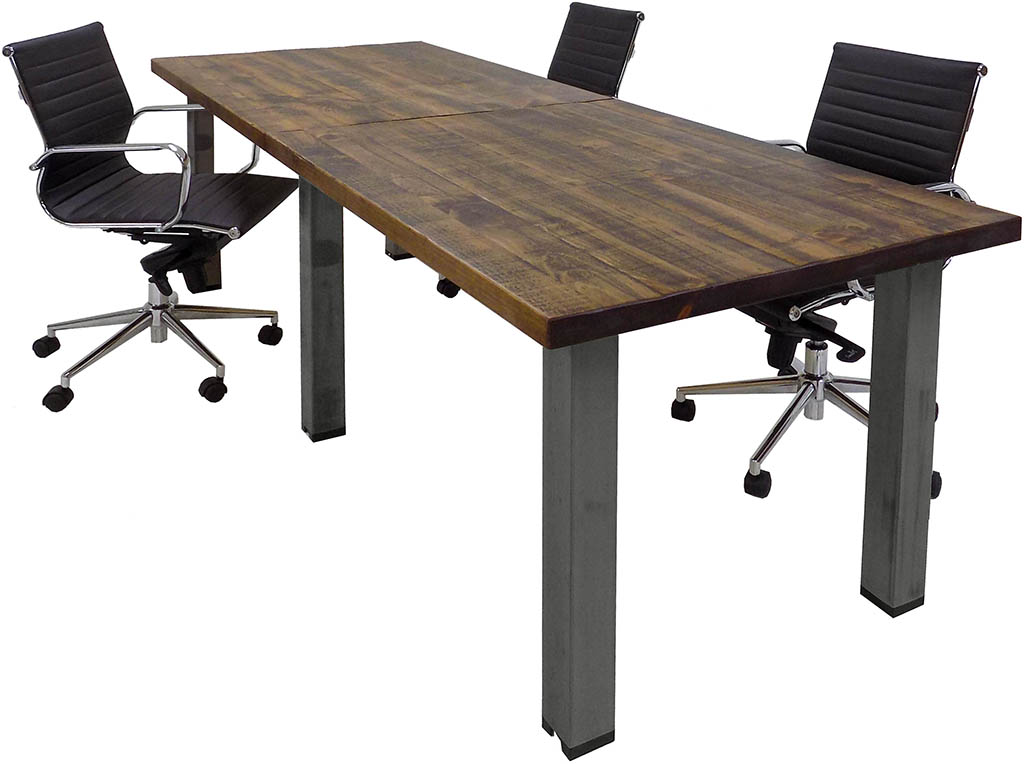 Solid Wood Rectangular Conference Table With Industrial Steel Legs - Rectangular conference room table
