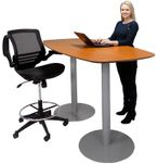 Standing Height 6' Metal Disc Base Boat Shaped Conference Table