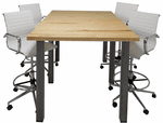 Standing Height Solid Wood Conference Table w/ Industrial Steel Legs - 6' x 4' - See Other Sizes