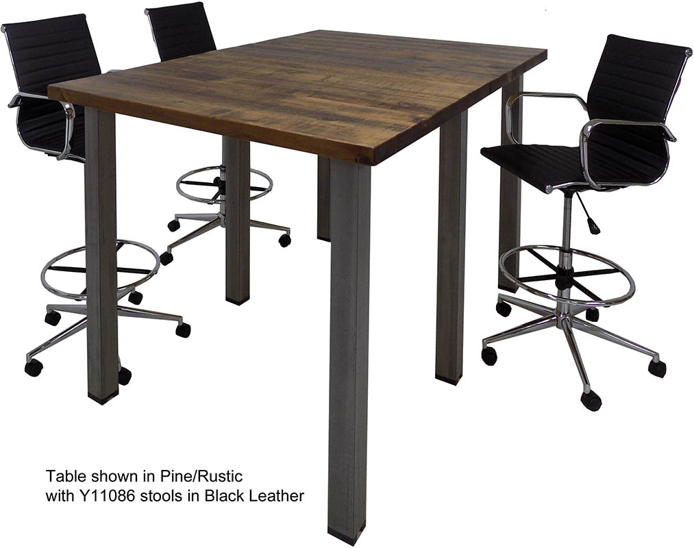 Standing Height Solid Wood Conference Table W Industrial Steel Legs - 10 x 4 conference table