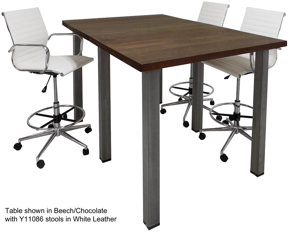 Standing Height Solid Wood Conference Table W Industrial Steel Legs - Standing height conference table