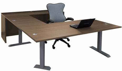 Straight Front U-Desk with Height Adjustable L-Surface