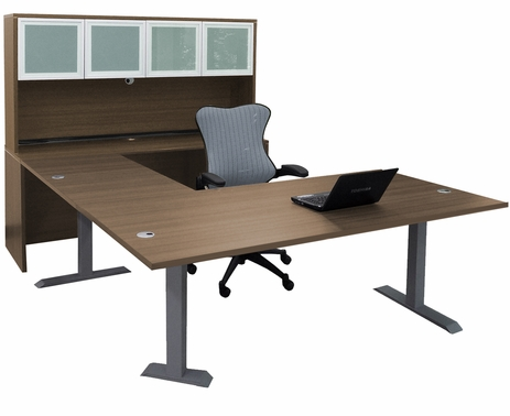 Straight Front U-Desk with Hutch and Height Adjustable L-Surface