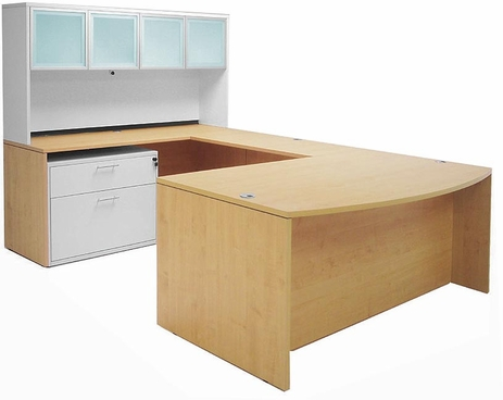 Structures Series  Maple Bow Front Conference U-Desk w/Glass Door Hutch