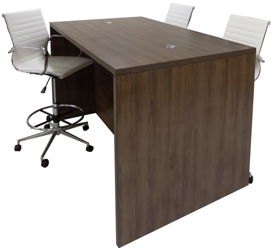 Team Standing Height Meeting Table in Modern Walnut
