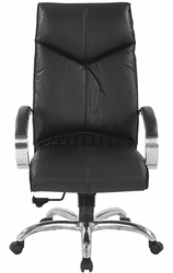 Top Grain Black Leather High Back Swivel Chair with Chrome Base