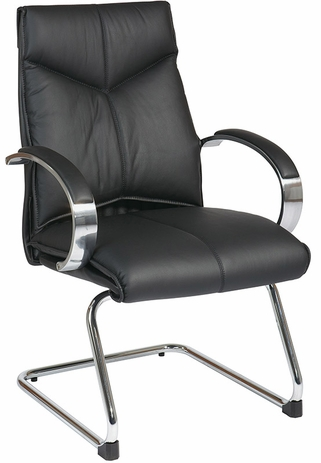 Top Grain Black Leather Mid Back Guest Chair with Chrome Base