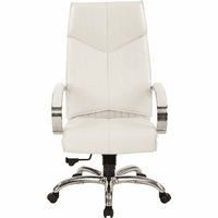 Top Grain White Leather High Back Swivel Chair with Chrome Base