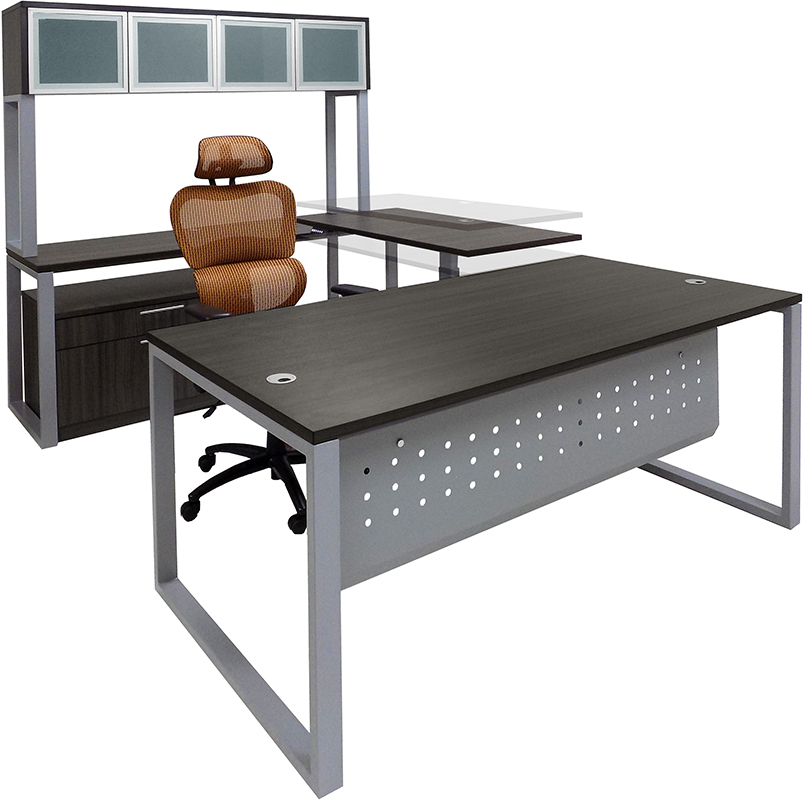 TrendSpaces Electric Lift Workstations - Electric Lift Adjustable Bridge U-Desk w/Hutch