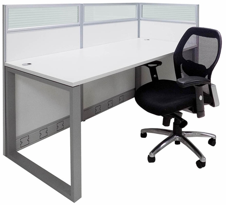 TrendSpaces Washable White Laminate Cubicles w/Glass Series - 48