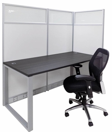TrendSpaces Washable White Laminate Cubicles w/Glass Series - 67