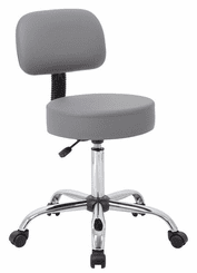 Vinyl Doctor's Stool w/Backrest & 21