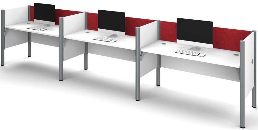 White 3 Person Cubicle Workstation